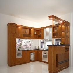 Tủ bếp gỗ xoan đào Hoàng Anh Gia Lai loại thường - Mẫu 02