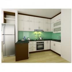 Tủ bếp gỗ MDF chống ẩm loại ván thường phủ vencer sồi