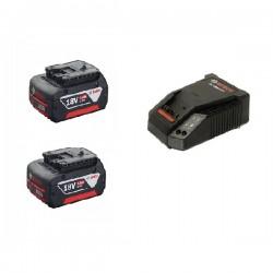 Pin + sạc Bosch Pin 18V 4.0 Ah x2 Sạc AL1860  x1